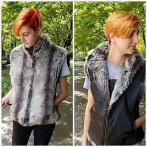 Fox Faux Fur PVC Reversible Zippered Vest Sz.S